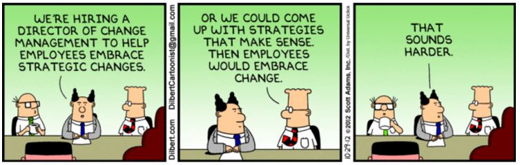 Dilbert comic strip about change