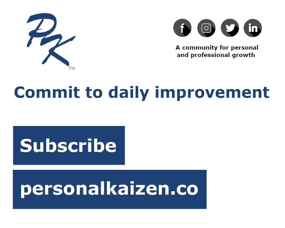 Signup for improvement tips delivered straight to your inbox at personalkaizen.co
